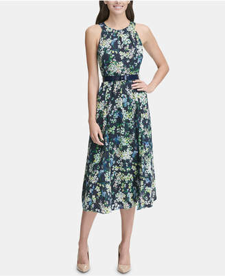 Tommy Hilfiger Printed Belted Halter Midi Dress