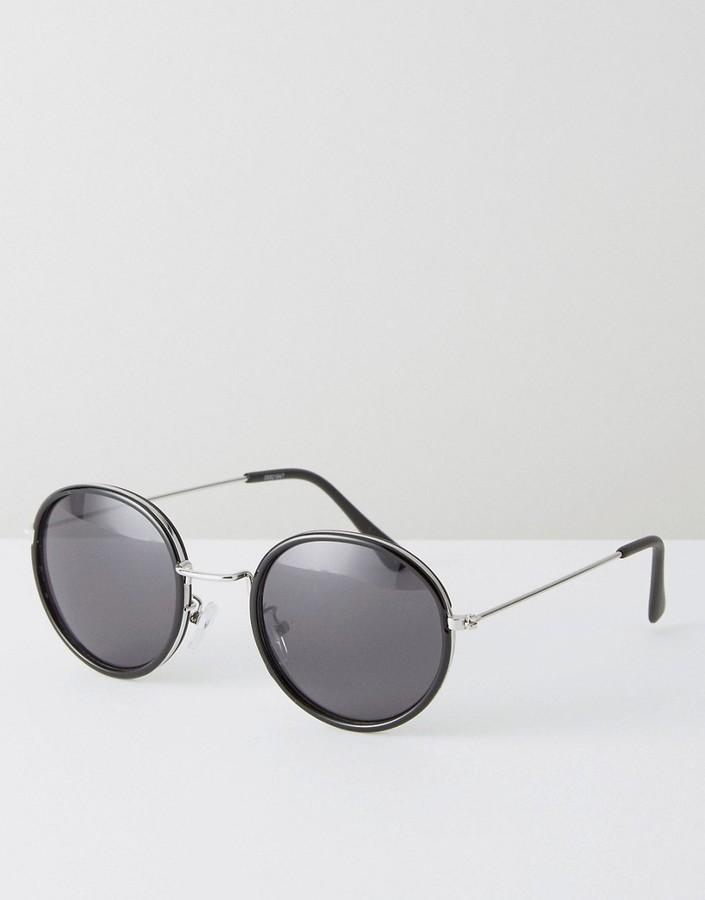 asos schwarze runde sonnenbrille mit schwarzen gl sern. Black Bedroom Furniture Sets. Home Design Ideas