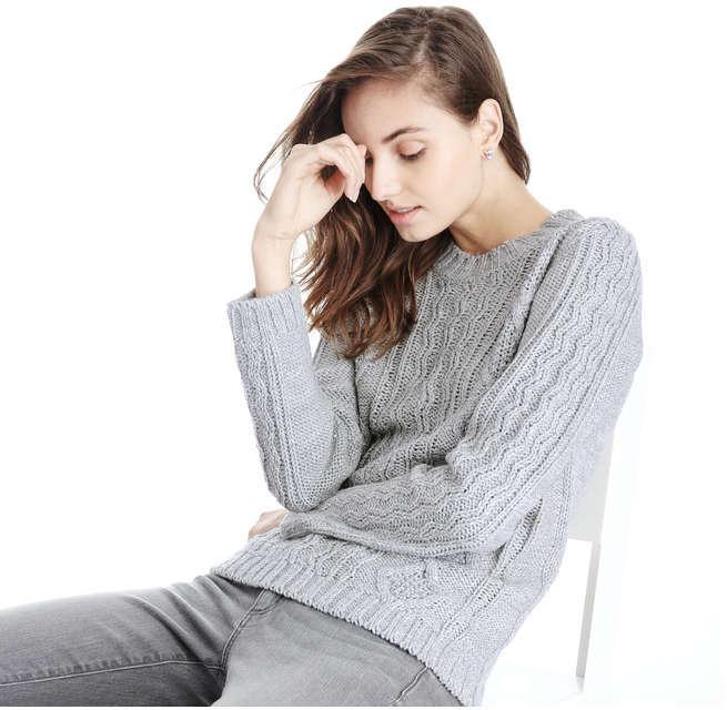 Joe Fresh Women's Sequin Cable Knit Sweater, Light Grey Mix (Size M)