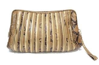 Salvatore Ferragamo Beige Exotic leather Clutch Bag