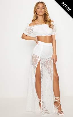 PrettyLittleThing Petite White Lace Split Maxi Skirt
