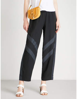 See by Chloe Striped-panel wide-leg crepe trousers