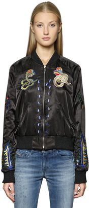 Embroidered Techno Satin Bomber Jacket $377 thestylecure.com