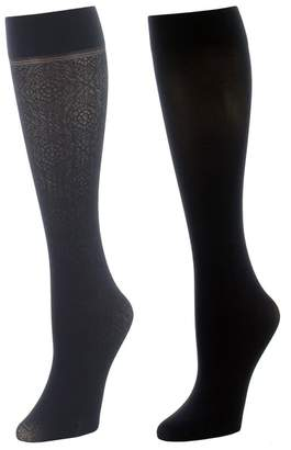 Natori Floral Medallion/Solid 2 Pair Trouser Socks