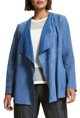 Marina Rinaldi Etere Open-Front Waterfall Suede Jacket, Plus Size
