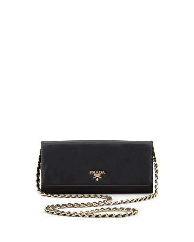 Prada Saffiano Wallet on a Chain, Black (Nero)