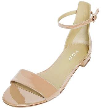 ee727eec010e YDN Womens Chic Open Toe Block Flat Sandals Ankle Strap Low Heels Shoes with  Buckle 12
