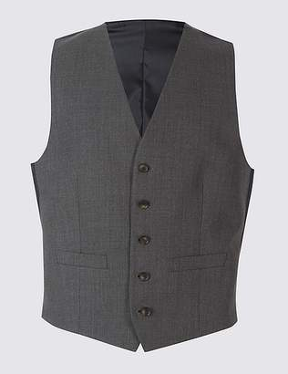 Marks and Spencer Grey Textured Regular Fit Waistcoat