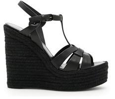 Saint Laurent Women's Black Leather Wedges.