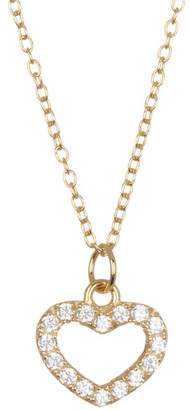 Argentovivo 18K Gold Plated Sterling Silver Pave Heart Pendant Necklace