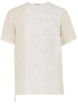 By Walid Floral Embroidered Cotton T Shirt - Mens - Beige
