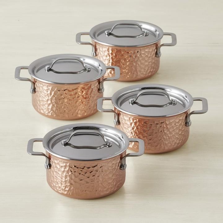 Williams Sonoma Hammered Copper Mini Cocottes, Set of 4