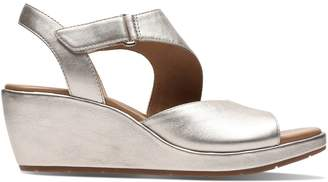 Clarks Un Plaza Sling Leather Wedge Sandals