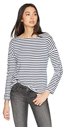 Monrow Women's French Boat Neck Top w/Lace up Sleeves