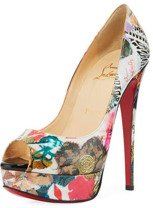 Christian Louboutin Lady Peep Trash-Print Red Sole Pump, Multi
