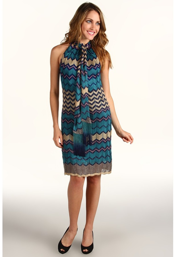 Hale Bob Love To Love You Halter Dress (Blue) - Apparel