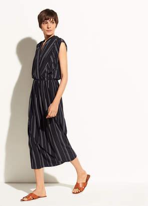 Vince Multi Stripe Draped Cross Front Dress