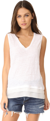 Three Dots Chiffon Trimmed Top $124 thestylecure.com