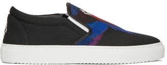 Marcelo Burlon County of Milan Black Wings Slip-On Sneakers