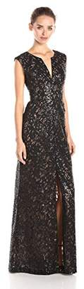 BCBGMAXAZRIA Women's Cain Sequined Long Evening Gown