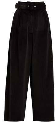 Isa Arfen Wide Leg Belted Velvet Trousers - Womens - Black