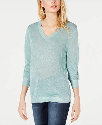 INC International Concepts I.N.C. Metallic V-Neck Pullover Sweater, Created for Macy's