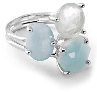 Ippolita Rock Candy Sterling Silver Prong Set Aquamarine, Blue Topaz, Mother of Pearl Cluster Ring - Size 7