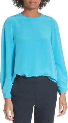 Diane von Furstenberg Cinched Sleeve Silk Blouse