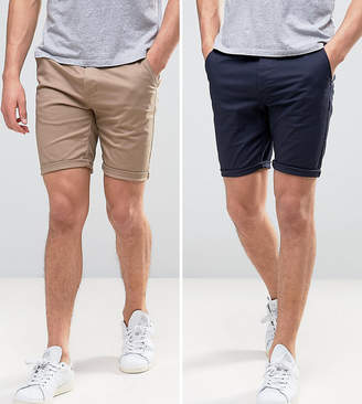 Asos DESIGN 2 pack skinny chino shorts in navy & stone save