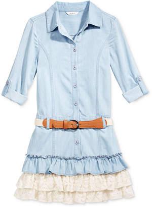 GUESS Denim & Lace Ruffle Dress, Big Girls