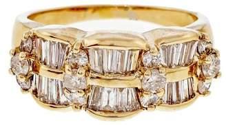 Vintage 14K Yellow Gold 1.64ct Diamond Wave Ring Size 9.75