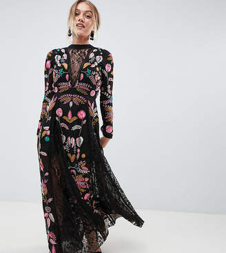 Frock And Frill Petite Embroidered Maxi Dress With Lace Inserts