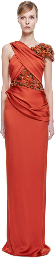 Marchesa Persimmon Silk Crepe Hand-Draped Gown