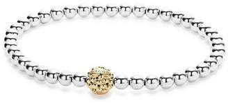 Lagos 18K Gold and Sterling Silver Stretch Bracelet with Caviar Icon Ball
