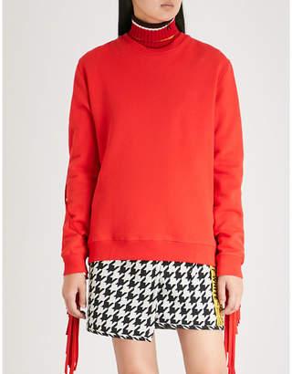 MSGM Fringed cotton-jersey sweatshirt