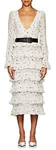 KALMANOVICH Women's Star-Print Silk Crepe Maxi Dress-White