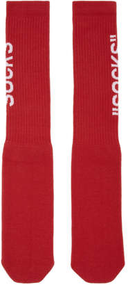 Off-White Red Quote Socks