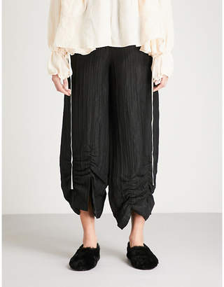 Mulberry RENLI SU Gathered wide-leg high-rise linen and silk-blend trousers