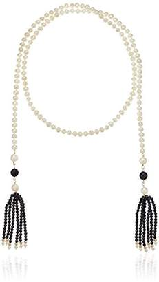 Freshwater Cultured Pearl with Multi-Size Simulated Onyx Endless Strand Necklace