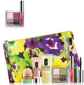 Clinique NEW 2015 9 Pcs Makeup Skincare Gift Set with Brush Kit & More! ($85+ Value)