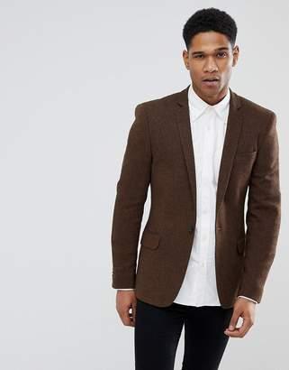 Asos DESIGN Super Skinny Texture Blazer In Rich Brown Wool Mix