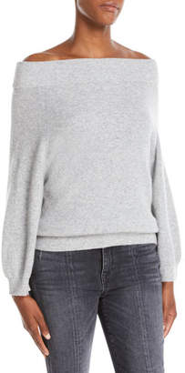 Alice + Olivia Vicka Off-the-Shoulder Long-Sleeve Ribbed Wool Sweater