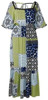 d1357bfc32116 Tile Print Crinkle Square Neck Maxi Dress