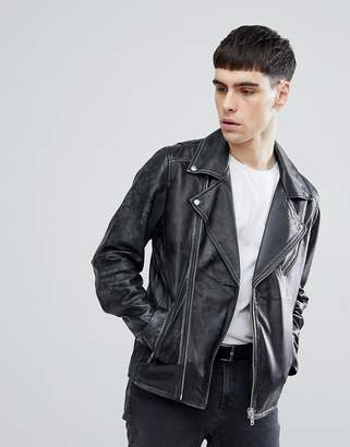 Selected Homme+ Distressed Leather Biker Jacket