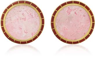 Monica Sordo Brujo Orbit 24K Gold-Plated Brass Rodonite and Jasper Earrings