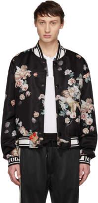 Dolce & Gabbana Black Floral Angels Bomber Jacket