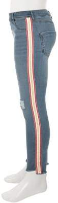 River Island Girls blue Molly pink tape ripped skinny jean