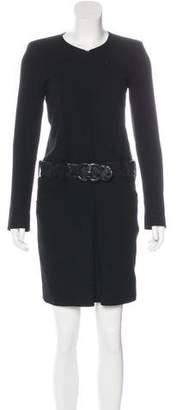 Chanel Belted Wool Tweed Dress