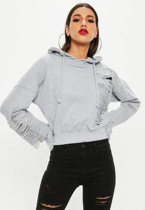 Missguided Grey Chainmail Hoodie, Grey