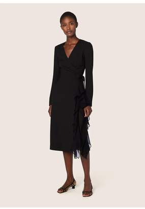 Derek Lam Ruffle Crepe And Chiffon Wrap Dress